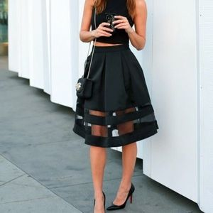 Black Express Midi Skirt with Sheer Panel